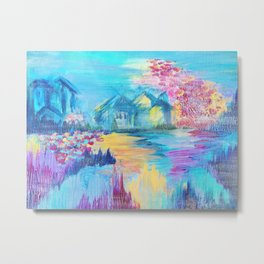 SOMEWHERE IN DREAMLAND - Simply Lovely Dream Village Blue Relax Christmas Abstract Serene Painting Metal Print