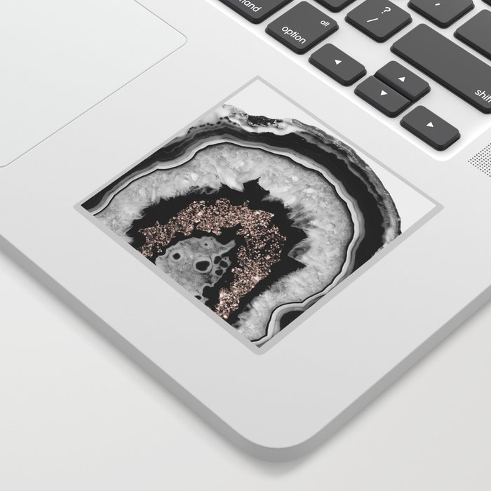 Gray Black White Agate with Rose Gold Glitter #1 #gem #decor #art #society6 Sticker