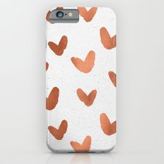Rose Gold Pink Hearts on Paper Slim Case iPhone 6s