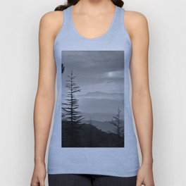 Rainbow clouds at the mountains at sunrise. BW Unisex Tank Top