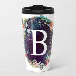 Personalized Monogram Initial Letter B Floral Wreath Artwork Travel Mug