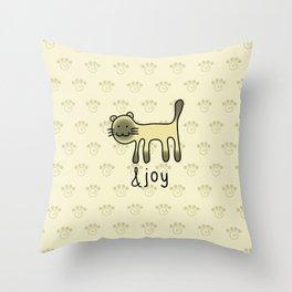 Cute Siamese Cat & Joy Doodle Throw Pillow
