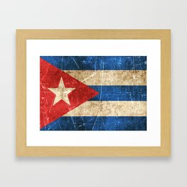 Vintage Aged and Scratched Cuban Flag Framed Art Print