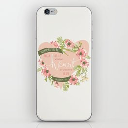 """All Your Heart"" Floral Bible Verse Print iPhone Skin"