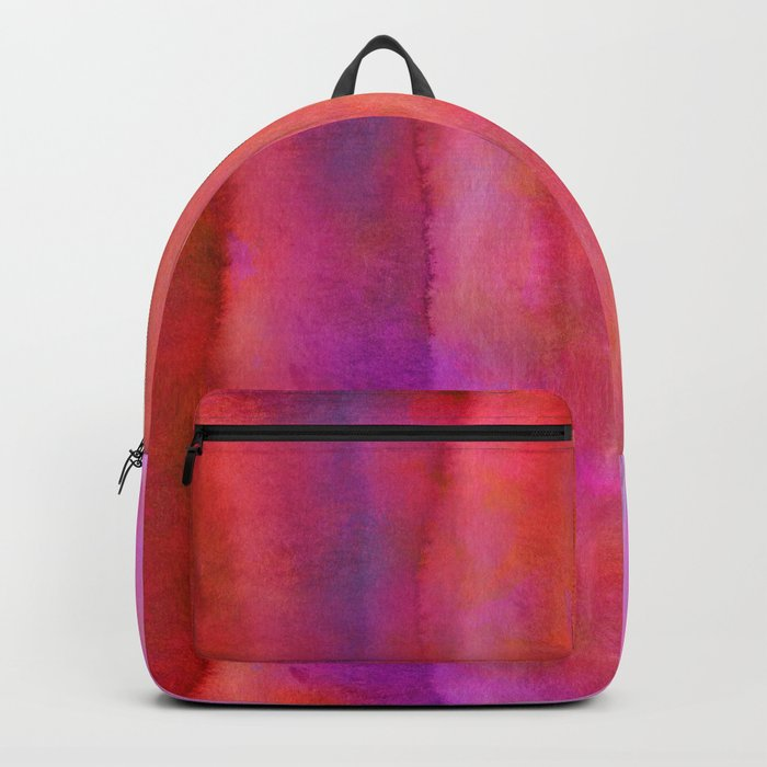 Striped Watercolor Art vibrant Red and Pink Backpack