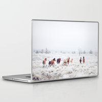 large Laptop & iPad Skins featuring Winter Horses by Kevin Russ