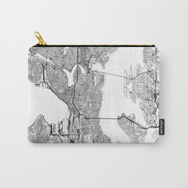 Seattle White Map Carry-All Pouch