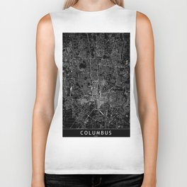 Columbus Black Map Biker Tank
