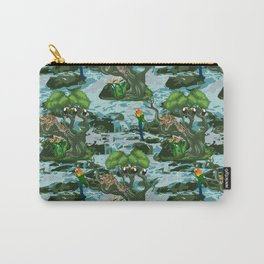 Tropical Rainforest with relaxed Leopard on tree, Macaw and Toucans Carry-All Pouch