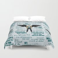 castiel Duvet Covers featuring Castiel by Dorothy Leigh