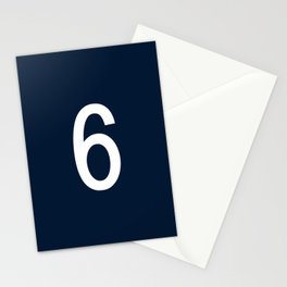 NUMBER 6 (WHITE-NAVY BLUE) Stationery Cards
