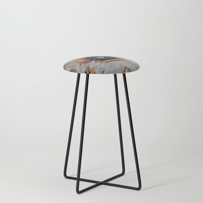 Urban Tribal Pattern No.6 - Aztec - Concrete and Wood Counter Stool