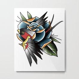 Sparrow Rose Metal Print