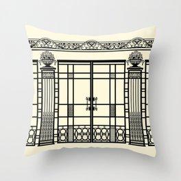 ART DECO, ART NOUVEAU IRONWORK: Black and Cream Throw Pillow