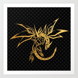 black pattern gold dragon skeleton Art Print