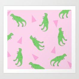 T-Rex Girly Pattern Art Print
