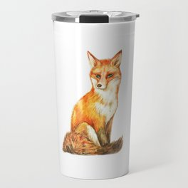 Red Fox in the White Silence Travel Mug