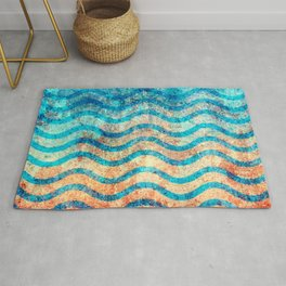 Fun Psychedelic Blue and Gold Wave Pattern Rug