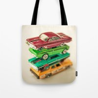 cars Tote Bags featuring Cars by Carl Christensen