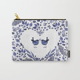 BLUE BIRDS WATERCOLOR - THE GIFT - INDIGO Carry-All Pouch