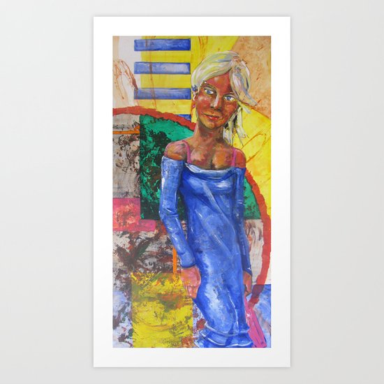 Girl in blue dress Art Print