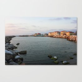 Marina Di Pisa Sunset View Of The Town Canvas Print