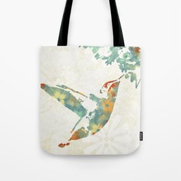 Colorful Teal Hummingbird Art Tote Bag