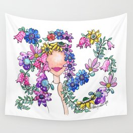 Flowers in Her Hair Wall Tapestry
