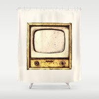 tv Shower Curtains featuring Old Television by Mr & Mrs Quirynen