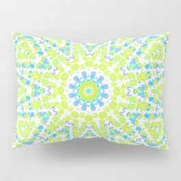 Abstract mosaic pattern .  Lemon color and sky blue . Pillow Sham