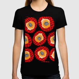 Irregular Red Circles with Black Cross Hatch Yellow Orange and Black Center. T-shirt