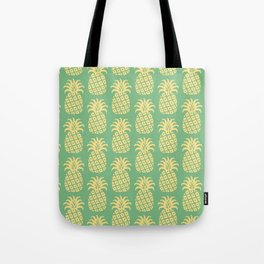 Mid Century Modern Pineapple Pattern Yellow and Green Tote Bag