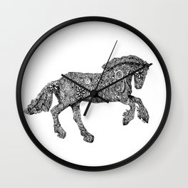 Gypsy Horse Zentangle artworks by Emily Hunter-Higgins Wall Clock