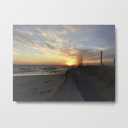 Lake Michigan Pier Metal Print
