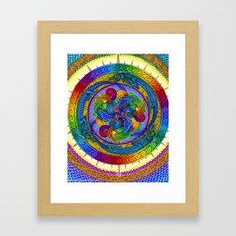 Psychedelic Dragons Rainbow Spirals Mandala Framed Art Print