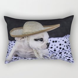 Tiny White French Bulldog Puppy with Black Markings Wearing an Oversize Sombrero Hat Rectangular Pillow
