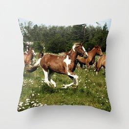 Spring Horse Run Throw Pillow