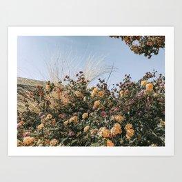 Bohemian Wildflower Boquet // Purple Lavender Yellow Orange Pink Flowers Muted Blue Sky Art Print