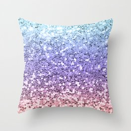 Pastel Mermaid Glitters Sparkling Pretty Chic Bling Background Throw Pillow