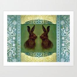 Happy Hare Vintage Art Print