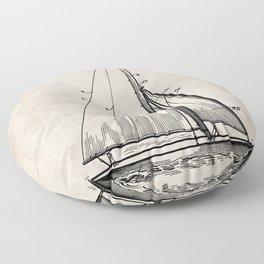 Sailboat Patent - Yacht Art - Antique Floor Pillow