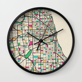 Colorful City Maps: Chicago, Illinois Wall Clock