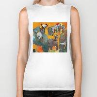 elephants Biker Tanks featuring Elephants by Jonas Ericson
