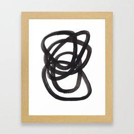 Black And White Minimalist Mid Century Abstract Ink Art Circle Swirls Black Circles Minimal Framed Art Print