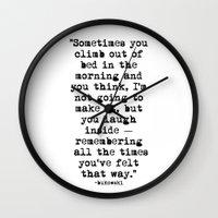 bukowski Wall Clocks featuring Charles Bukowski Typewriter Quote Morning by Fligo