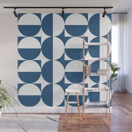 Mid century white and blue Wall Mural