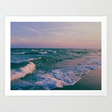 Sunset Crashing Waves Art Print