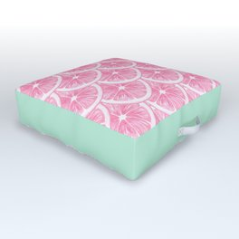 Zesty splice - pink grapefruit Outdoor Floor Cushion