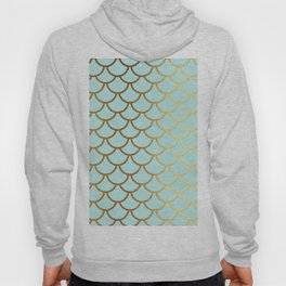 Aqua Teal And Gold Foil MermaidScales - Mermaid Scales Hoody