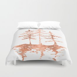 Three Sisters Trees Rose Gold on White Duvet Cover